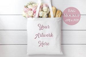 Tote Bag Mockup -Pale pink roses