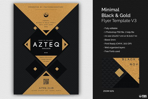 minimal black and gold flyer v3 flyer templates creative market