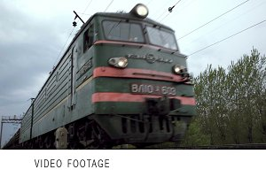 Freight train shot from low angle