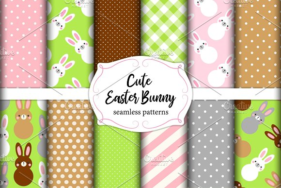 Cute set of Easter seamless patterns design with funny cartoon characters of bunnies in Objects