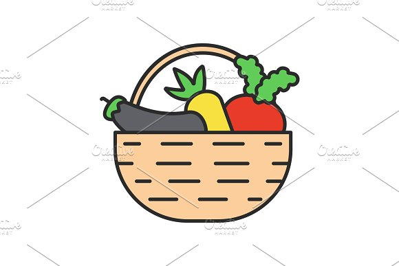 Basket with vegetables color icon