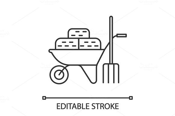 Wheelbarrow with bales of hay and pitchfork linear icon