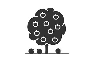Fruit tree glyph icon