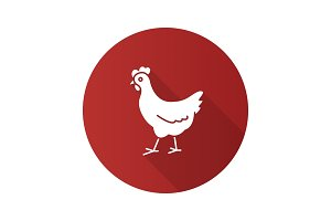 Chicken flat design long shadow glyph icon