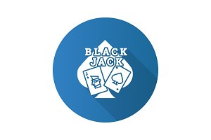 Blackjack flat design long shadow glyph icon