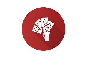 Hand holding four aces flat design long shadow glyph icon