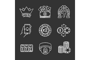 Casino chalk icons set