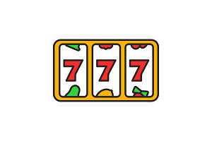 Slot machine with three sevens color icon