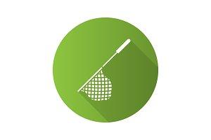 Scoop net flat design long shadow glyph icon