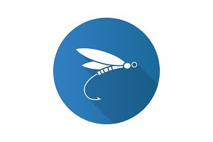 Fly fishing flat design long shadow glyph icon