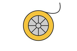 Fishing line spool color icon