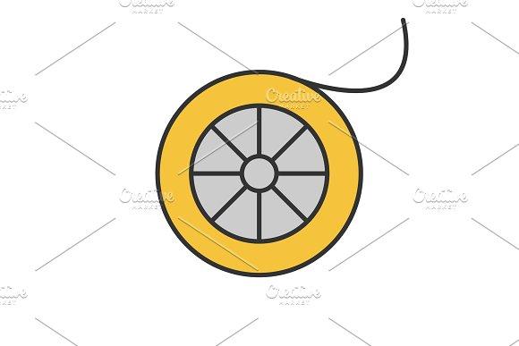 Fishing line spool color icon