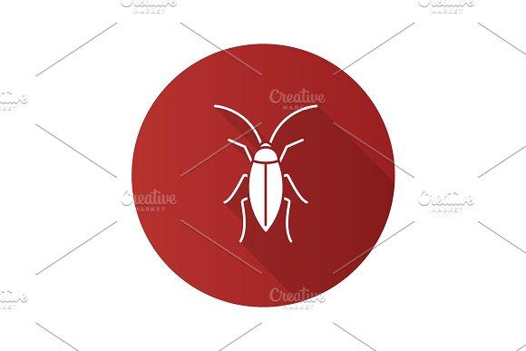 Cockroach flat design long shadow glyph icons set