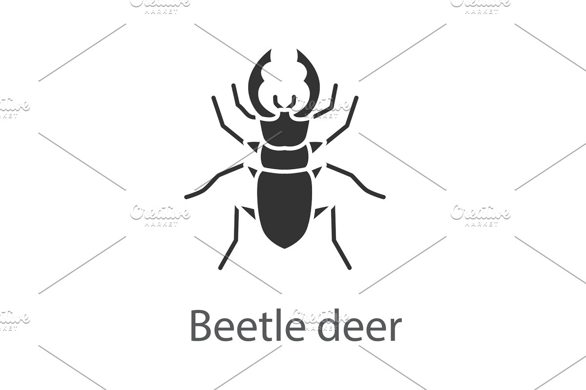 Stag beetle glyph icon