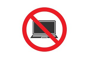 Forbidden sign with laptop glyph icon