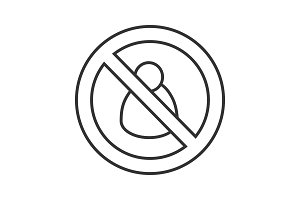 Man in prohibition circle linear icon