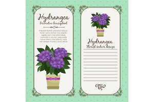 Vintage label with hydrangea plant