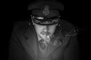 Male Soldier Portrait Smoking