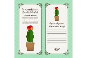 Vintage label with gymnocalycium plant