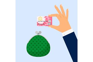 Businessman hand holding credit card