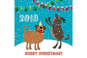 Happy dogs 2018 merry christmas card