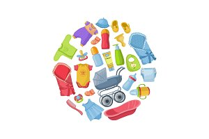 Vector illustration with baby clothing and equipment