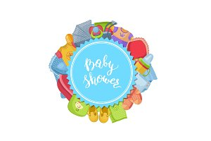 Vector baby shower illustration with baby