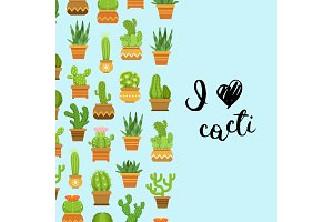 Vector cacti in plant pots illustration with lettering I love cacti