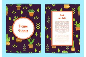 Vector card template with lettering, cacti in pots