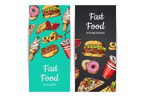 Vector vertical banners or flyers with fast food, ice cream, burger, donuts