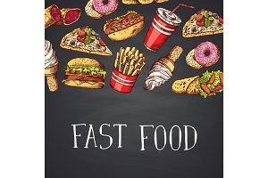 Vector hand drawn fast food illustration with lettering on chalkboard background