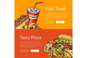 Vector horizontal banners with hand drawn fast food