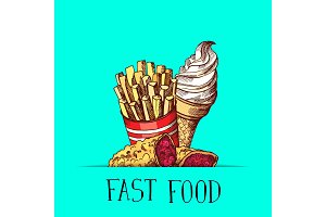 Vector hand drawn colored fast food ice cream, pie and fried potatoes illustration