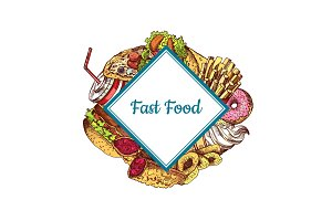 Vector hand drawn colored fast food illustration i