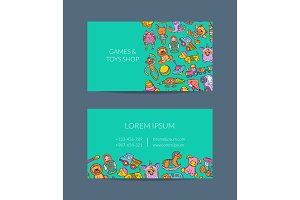 Vector business card template for shop, kindergarten with hand drawn kid toys elements