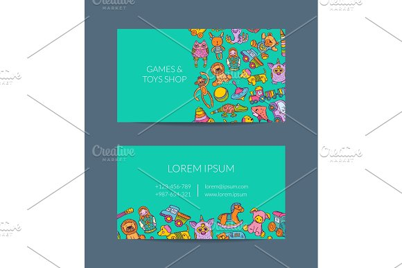 Vector Business Card Template For Shop Kindergarten With Hand Drawn