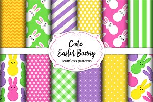 Cute set of Easter seamless patterns design with funny cartoon characters of bunnies