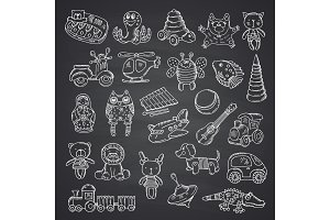 Vector kid toys set hand drawn