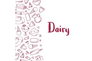 Vector sketched dairy products illustration