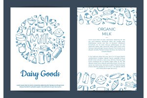 Vector card or flyer template with place for text and hand drawn dairy