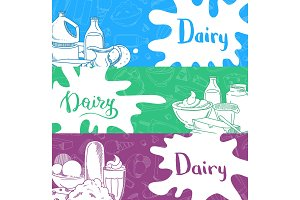 Vector banners with lettering and hand drawn dairy products