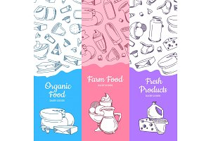 Vector vertical banners with sketched dairy goods
