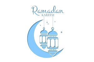 Vector Ramadan illustration in paper style with lanterns
