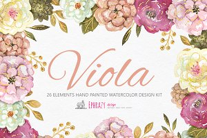 Viola Floral bundle. Cliparts paper