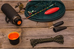 Fishing set. Attributes of a fisherman. Necessary accessories for the fisherman.