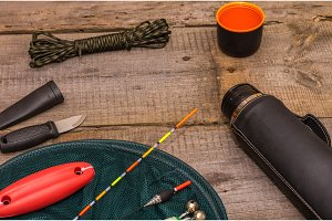 Preparing for fishing. Fishing tools. Fishing net and floats.