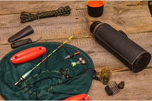 A variety of fishing items. Preparing for fishing.