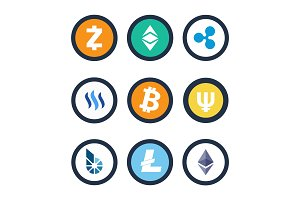 Cryptocurrency Different Coins Vector Illustration