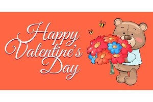 Teddy Bear with Bouquet Colorful Flowers Cartoon