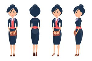 Beuaty Woman in Cute Suit Vector Illustration